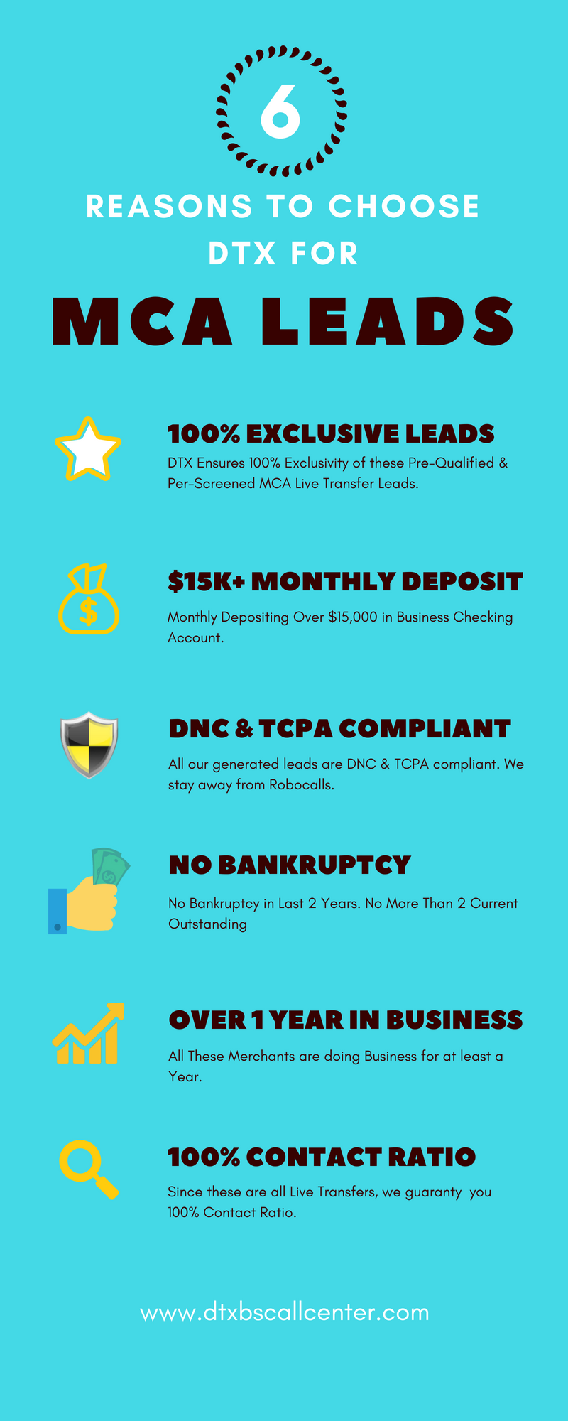 Benefits of DTX Merchant Cash Advance Leads Infographic